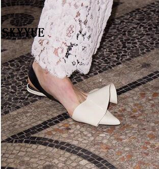 2018 New Black Genuine Leather Pleated Pointed Toe Women Sandals Sexy Fashion Elastic Women Pumps Shoes Women 2018 new pleated genuine leather women