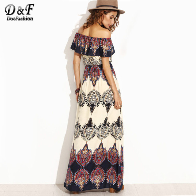 47d86c4255 Dotfashion Bohemian Style Maxi Dress Beach Dress Summer Boho Dress  Multicolor Print Off The Shoulder Ruffle