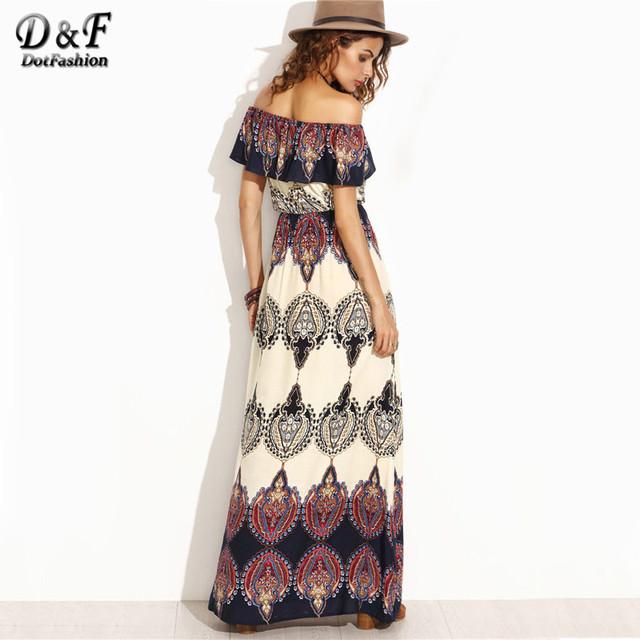 Dotfashion estilo bohemio maxi dress beach dress summer boho dress multicolor de impresión de la colmena del hombro maxi dress