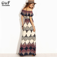 Dotfashion Bohemian Style Maxi Dress Beach Dress Summer Dress Multicolor Print Off The Shoulder Ruffle Maxi