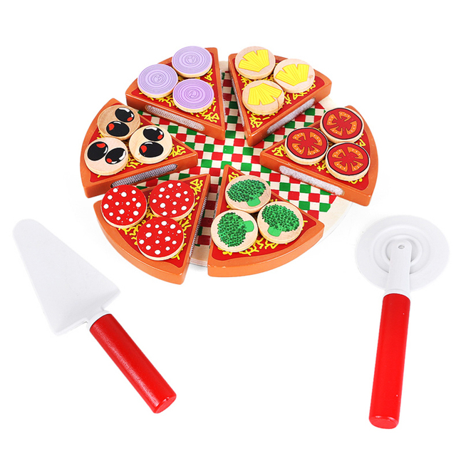 Arrial Kids Toys Pizza Food Game Montessori Pretend Play Kitchen Cut Wooden Learning Educational Building blocks oyuncak