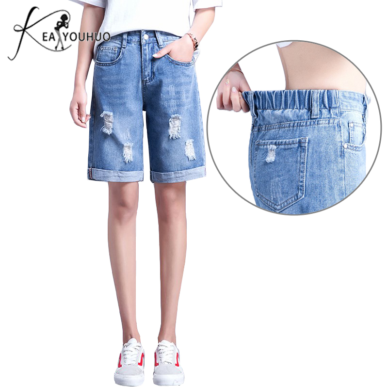 2018 Summer Trousers Elastic High Waist Knee Length Pants   Jeans   Shorts For Women Denim Shorts   Jeans   Woman Plus Size 26 34   Jeans