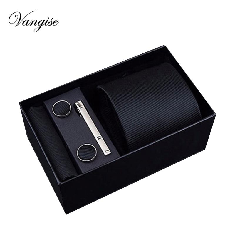 2020 Fashion 8cm Wide Tie Sets Black/blue/red Men's Neck Tie Hankerchiefs Cufflinks 24 Colours Box Gift Polyester Silk Handmade
