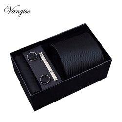 2021 Fashion 7.5-8 cm Wide Tie Sets Black blue red Men's Neck Tie Hankerchiefs Cufflinks clip Box wedding gift silk handmade