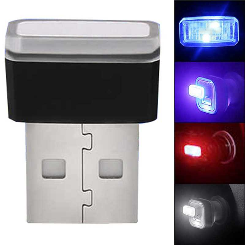 Auto USB LED Sfeer Verlichting Decoratieve Lamp Noodverlichting Universele PC Draagbare Plug en Play Rood/Blauw/Wit