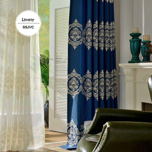 European Blackout Curtains For Living Room Embroidered Roman Blinds Damask Blue Drapes Bedroom Window Panels