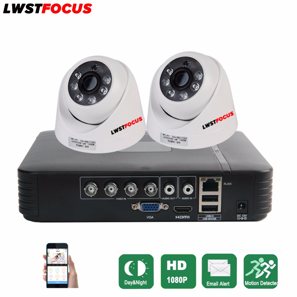 CCTV 4 Channel AHD AHD-H DVR P2P HDMI H.264 Hybrid DVR Video Surveillance System 1080P AHD Dome Camera Kit Day & Night IR-CUT