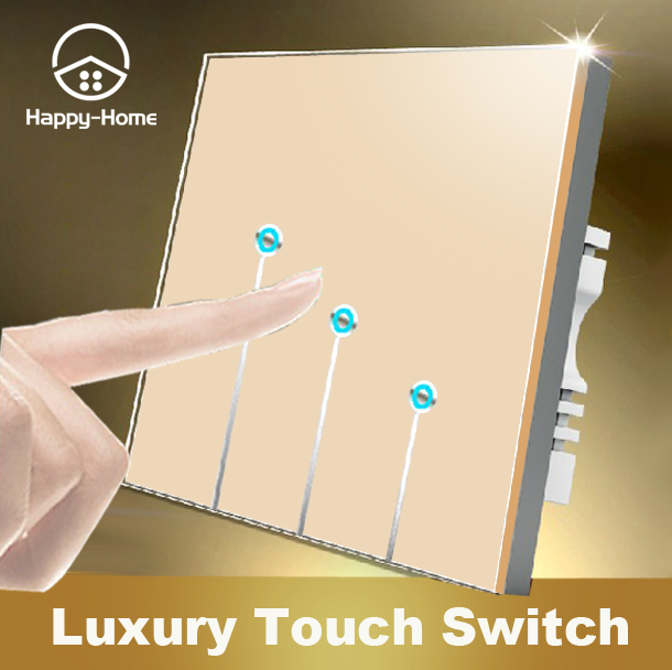 Free Shipping, Wallpad Luxury Gold Crystal Glass Switch Panel,3 Gangs 2 Way,110~250V touch Screen Wall Light Switch LED new arrival 3 gangs 2 way gold touch light wall switch customize words led 110 250v touch switch work for any lamp free shipping