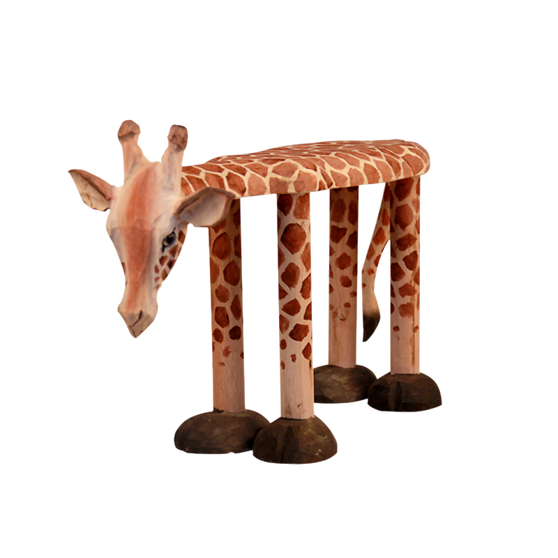 Us 795 Hand Carved Solid Wood Giraffe Shoes Stool Ornaments Seat Animal Shaped Wooden Chair For Baby Kids 1 4 Years Designer Furniture In Baby