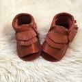 Brown double franja sandálias do bebê