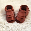 Brown double fringe baby sandals