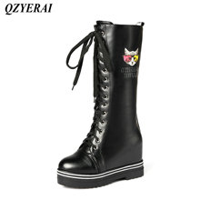 QZYERAI  New ladies motorcycle boots thin band combination inner heigh female boots fashion womens shoes