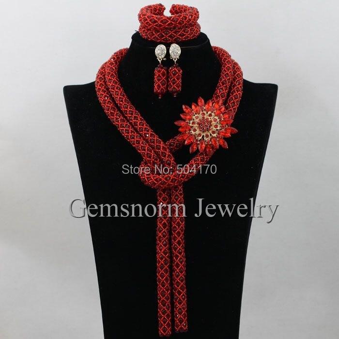 Fantastic White African Wedding Nigerian Beads Jewelry Set Crystal Bridal Fashion Jewelry Set 2017 Free Shipping WA183