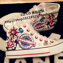 Free shipping Fashion handmade diamond lace muffin thick bottom tendon canvas shoes