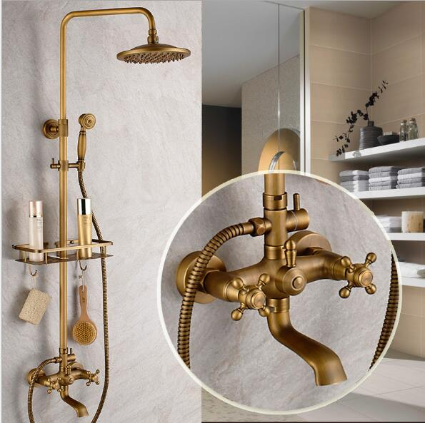 Luxury Antique Bath Rainfall Shower Faucet Set Brass Bathtub ...