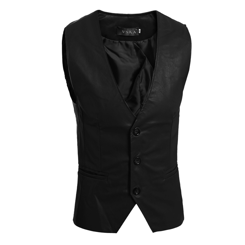 Jacket Vest Homens Slim-Fit Sleeveless Three-Color Clothing Colete Cool Homme-'s Pu College