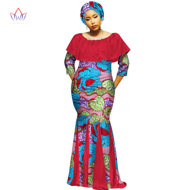 61de292e6d2 2019 Autumn Robe Africaine Femme Dashiki Dresses Ethnic Plus Size 6XL  African Traditional Dresses Print 6xl Free Headtie WY2116