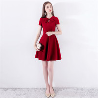 Party Dress Women Wine Red Pink Black XS 2XL Plus Size Mini Dresses 2019 New Spring Summer Bow Collar Zipper Banquet Dress CX892