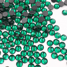 Green Emerald SS6-SS30 Hot Fix Rhinestones Iron On For Clothes Glue back Glass Stone sale Promotion
