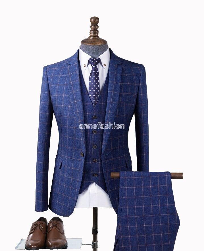 Popular Men Blue Check Suit-Buy Cheap Men Blue Check Suit lots