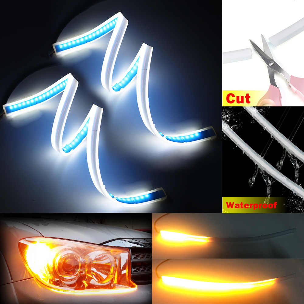 2x 60cm White Yellow Sequential Flexible LED DRL Daylight For Headlight Strip daytime running light with yellow turn signal lamp