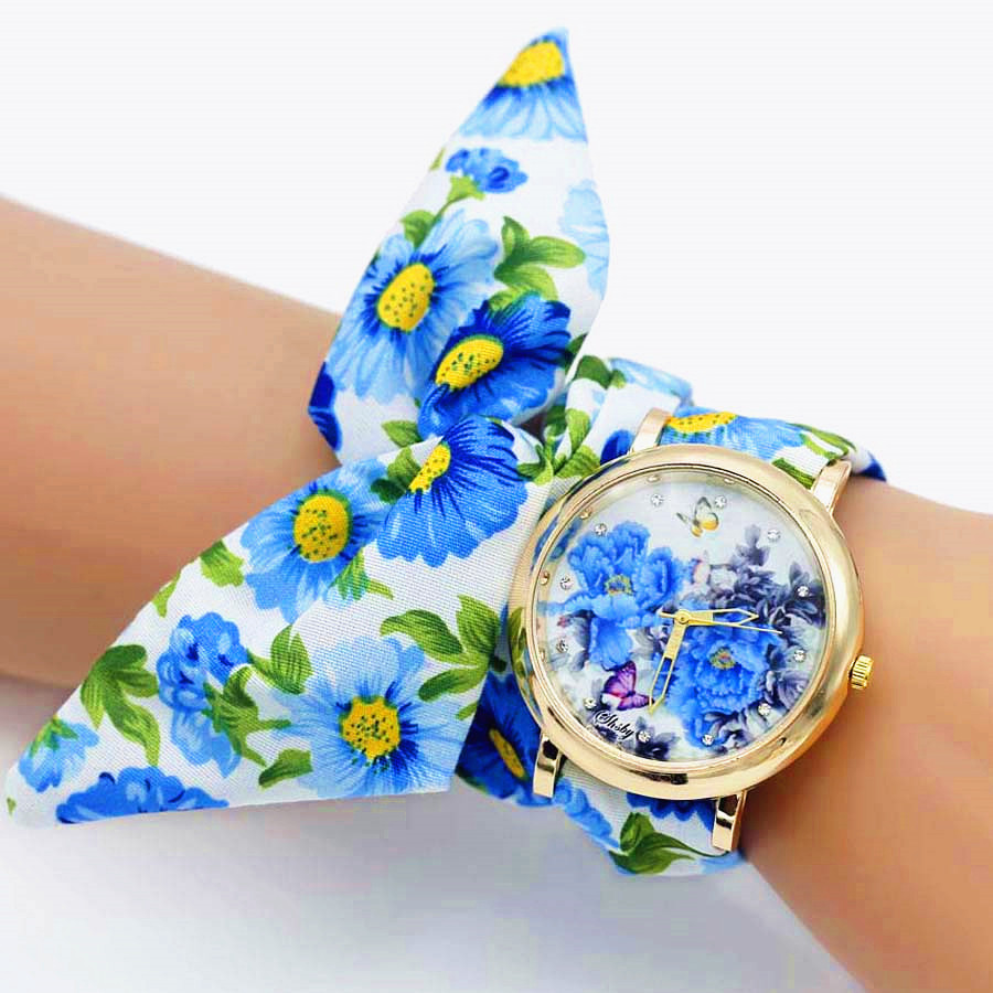 Shsby New Fashion Flower Women dress Watches Ladies Floral Cloth Quartz Wristwatch sweet girls Bracelet watch relogio feminino