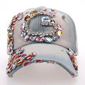 Women's High Quality Colorful Acrylic Decorated Denim Caps All-match Style Spring Summer Manural Drill Letter Baseball Cap SY573