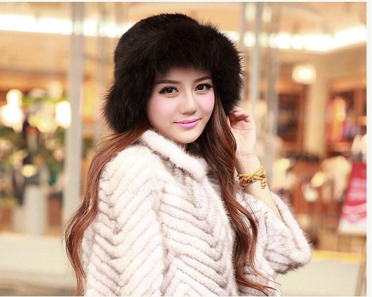 russian women sun hat style fox fur trim real mink knitting fur hat for women