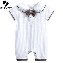 Chivry Baby Boys Rompers Summer Short Sleeve O-neck Bow Cartoon Letter Cute Jumpsuit Newborn Playsuit Infant Clothing
