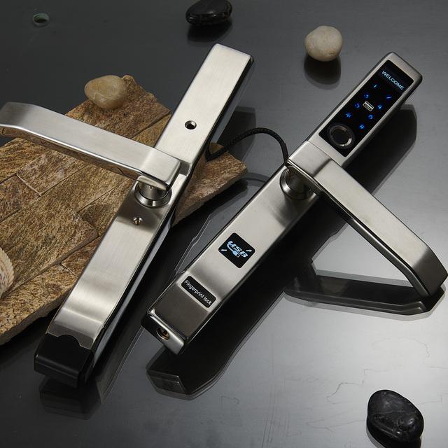 Biometric Fingerprint Door Lock,Intelligent Electronic Lock with slim stainless steel panel for Aluminum Glass Door