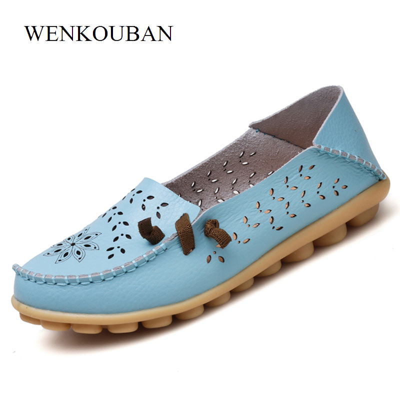 Genuine Leather Shoes Women Ballet Flats Brogues Summer Loafers Moccasins Ladies Casual Shoes Flat Ballerina Blue Zapatos Mujer ...