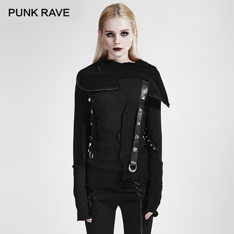 PUNK RAVE Punk Style Street Fashion Jacket Women Black Cool Girls Knitted Sweatshirt Decadent Thread Stitching