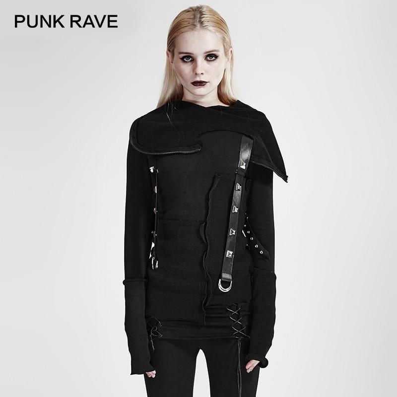 PUNK RAVE Style Punk rue mode veste femmes noir Cool filles tricoté sweat-shirt décadent fil couture capuche haut