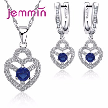 925 Sterling Silver Women Wedding Engagement Jewelry Sets Heart Shape Blue Crystal Statement Necklace Earrings Set Female