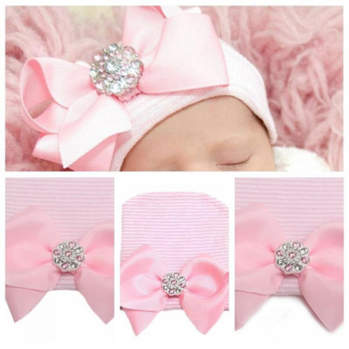 Newborn Infant Toddler Baby Girls Boy Striped Bowknot Knitted Beanie Hats Caps Cute Princess Diomand Winter Warm Cap