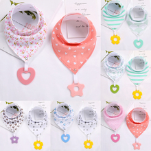 2Pcs/ Lot Baby Bandana Drool Bibs and Teething Toys Made with 100% Organic Cotton, Super Absorbent Soft Unisex Newborn