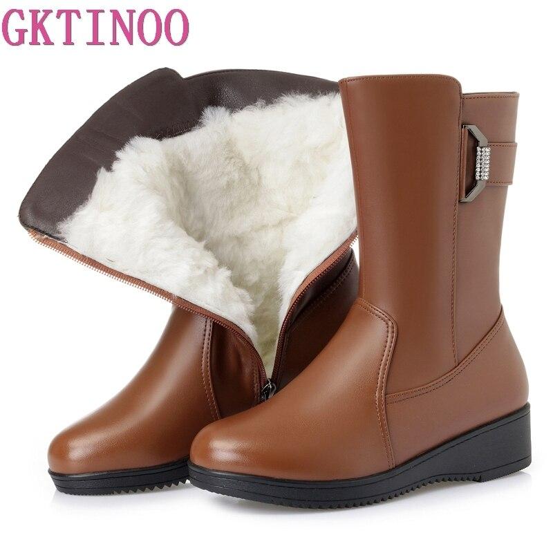 GKTINOO Winter Mid-Calf Boots Wool Fur Inside Warm Shoes Women Flat Heels Soft Leather Shoes Platform Snow Boots Footwear Botas недорого