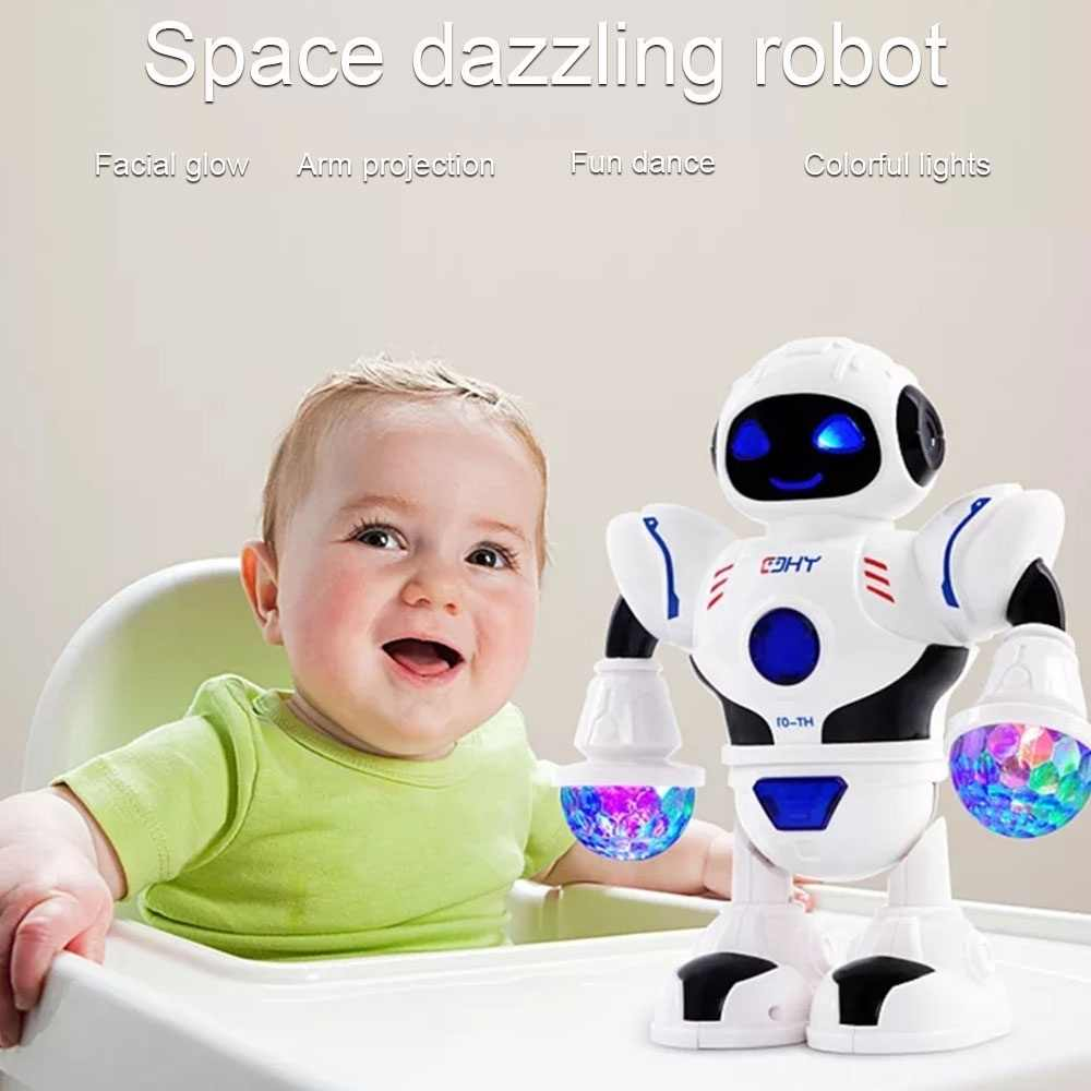 Uzay göz kamaştırıcı müzik Robot parlak erkek eğitici oyuncaklar elektronik yürüyüş dans akıllı uzay Robot çocuklar müzik Robot kız oyuncak