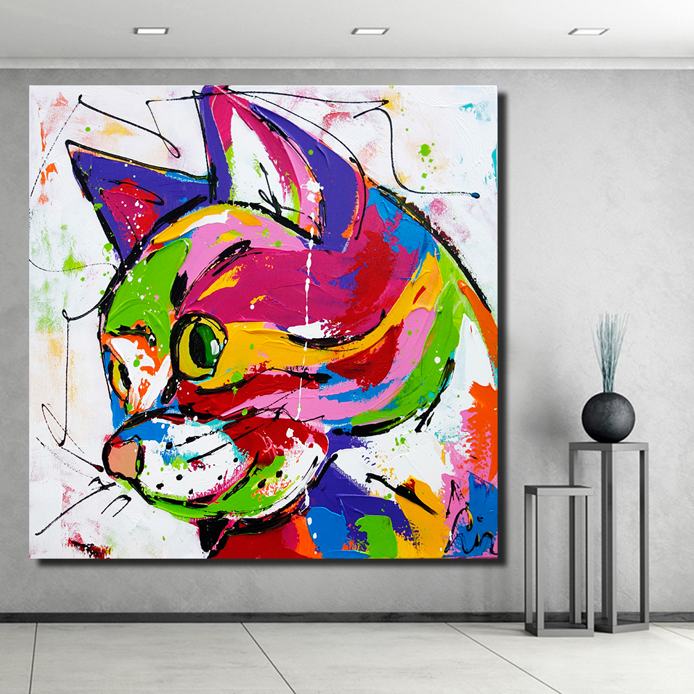 Hdartisan colorful cat animals graffiti oil painting canvas prints for wall art picture for Painting graffiti on bedroom walls