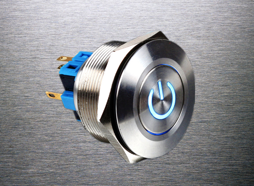 1pc 28mm Metal Stainless Steel Waterproof Latching Doorebll Horn LED Push Button Switch Car Auto Engine Start PC Power Symbol 1pc 6pin 25mm metal stainless steel momentary doorebll bell horn led push button switch car auto engine start pc power symbol