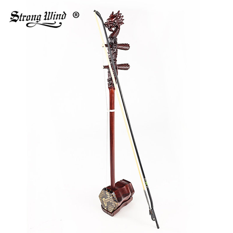 Strong Wind Chinese Erhu Folk String Instrument Rosewood Erheen Accessories String Professional Playing Musical Stringed wuyue erhu chinese musical instrument 2 string erhu round pole hexagonal shape with bow