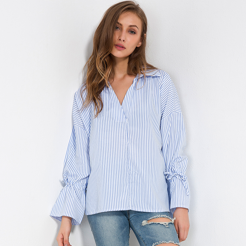 11a716decf81 Blue And White Striped Shirt Women Tops Spring 2018 New Fashion Chiffon  Blouse Flare Long Sleeve Loose Blouses Womens Clothing