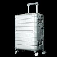 Новинка, женская мода, полностью алюминиевый Высококачественный Прочный Багаж на колёсиках, Мужская Вместительная деловая сумка на колесиках, дорожная сумка