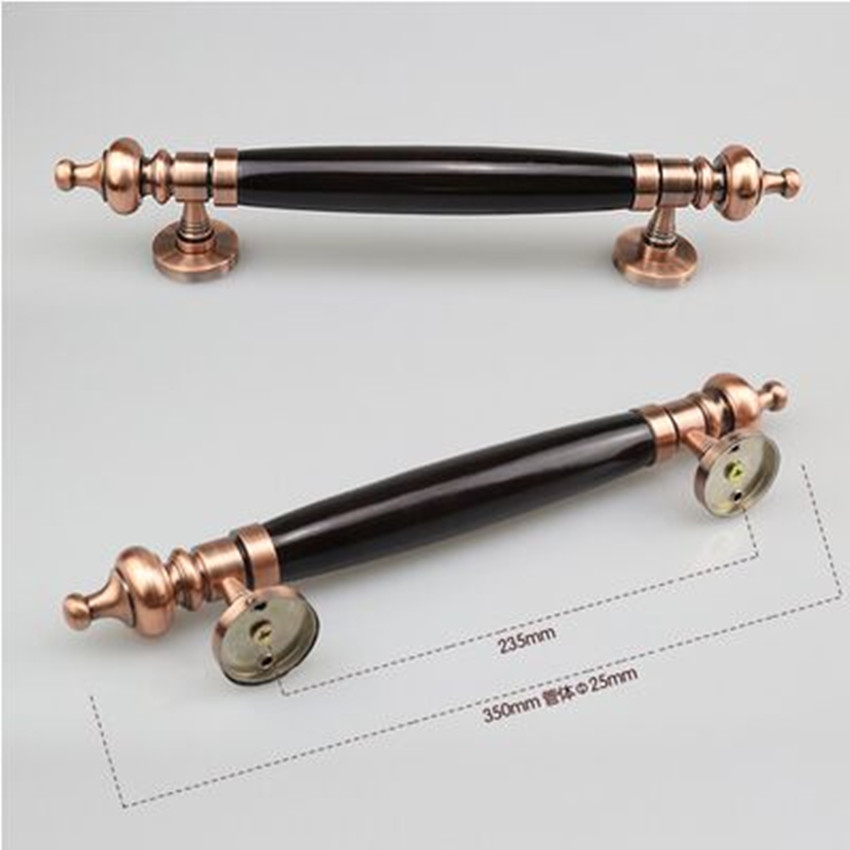 350mm Vintage style unfold install room door handles antique copper zinc alloy with woodenbig gate wooden