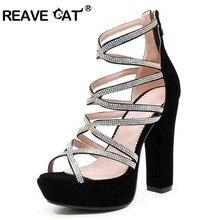 5f62f43204 REAVE GATO das Mulheres sandálias sapatos de Verão da Plataforma do salto  Quadrado Zipper Flock Rhinestone Glitter Preto sapatos.