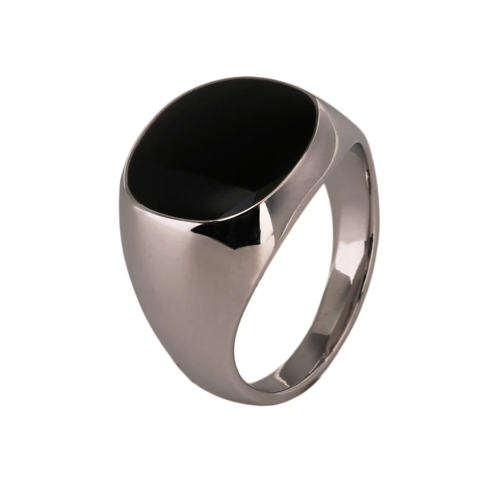 Black Onyx Stone male rings Fashion Stainless Steel Metal ...  Onyx
