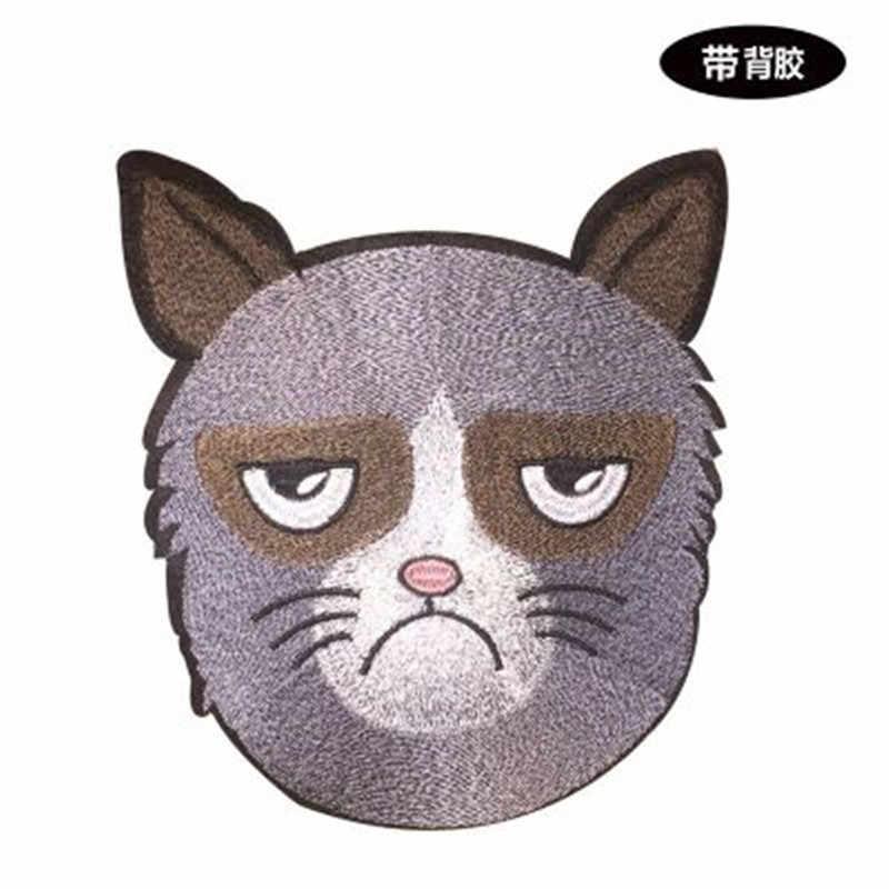 큰 고양이 머리 수 놓은 패치 의류에 대 한 봉 제 parches에 철 applique 자 수 DIY 용품 공예 스티커