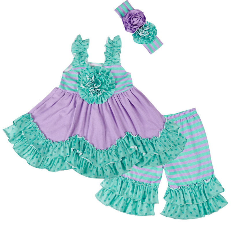 New Fashion Girls Clothes Children Green and Purple Ruffle Lace Top with Striped Ruffle Shorts2-Pieces Outfits Kids Clothing SetNew Fashion Girls Clothes Children Green and Purple Ruffle Lace Top with Striped Ruffle Shorts2-Pieces Outfits Kids Clothing Set
