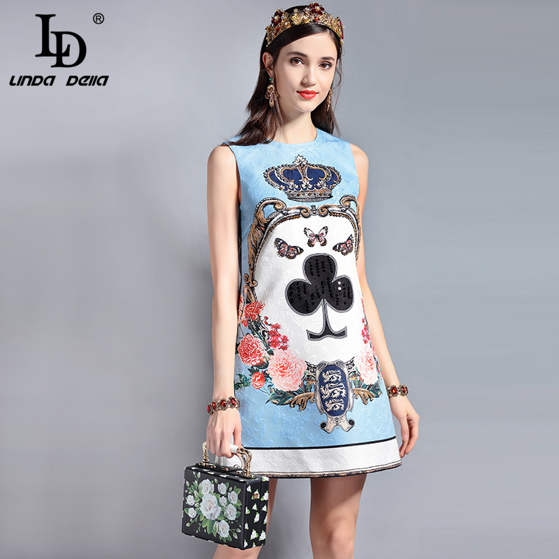 LD LINDA DELLA Fashion Designer Runway Summer Dress Women's Sleeveless Sequin Beading Jacquard Floral Print Vintage Casual Dress