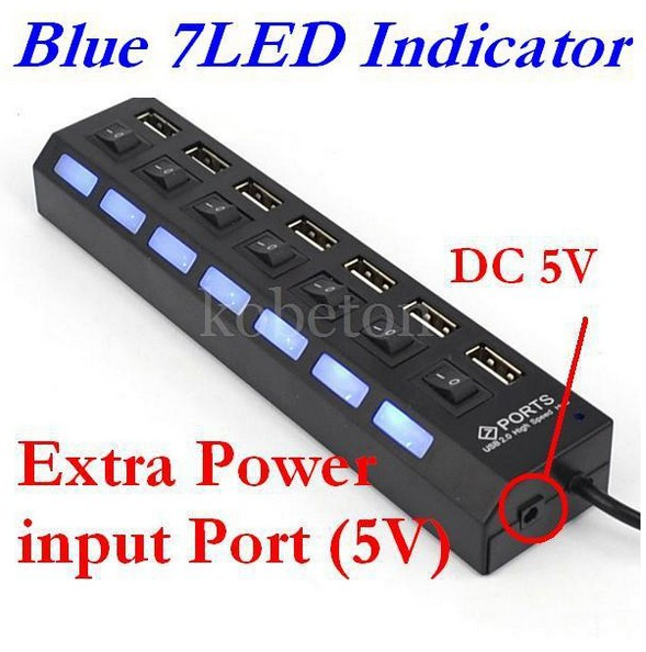 Buy 7 port usb 2 0 hub high speed power cable with led light indicator on off - Usb 7 port hub with power switches ...